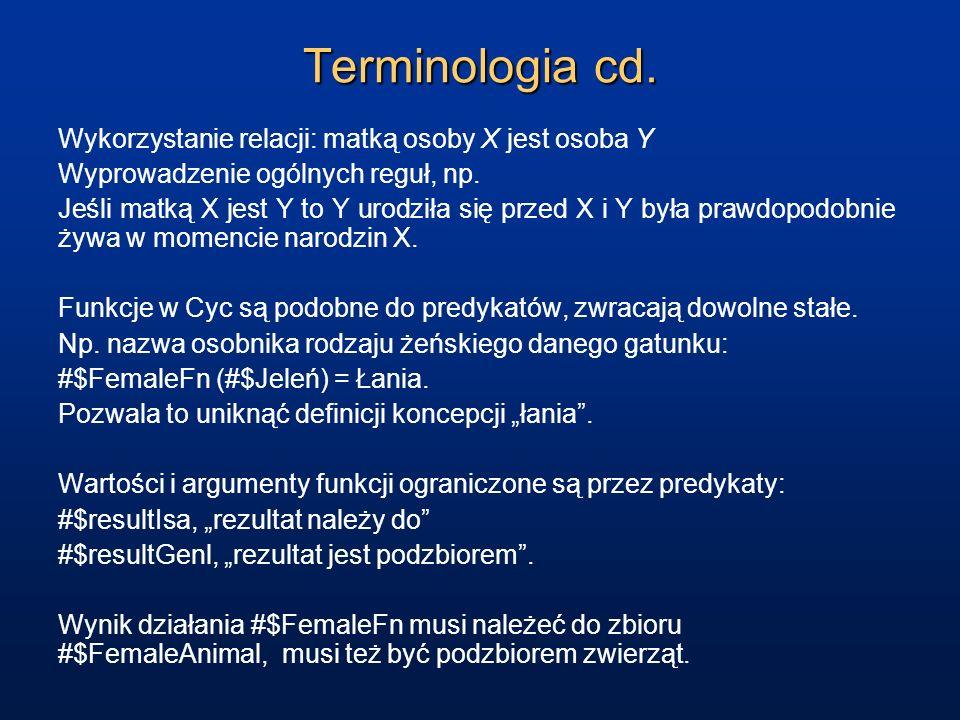Terminologia cd. Wykorzystanie relacji: matką osoby X jest osoba Y Wyprowadzenie ogólnych reguł, np. Jeśli matką X jest Y to Y urodziła się przed X i