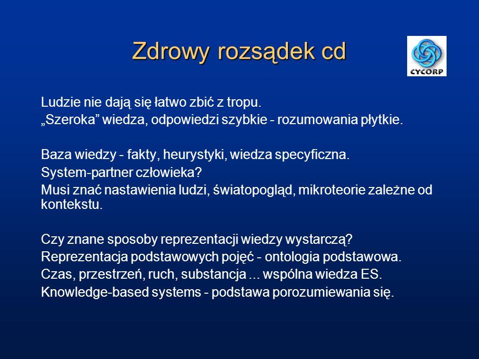 Zdrowy rozsądek cd.System CYC zawiera w wersji podstawowej ponad milion reguł.