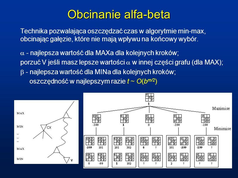 Obcinanie alfa-beta Technika pozwalająca oszczędzać czas w algorytmie min-max, obcinając gałęzie, które nie mają wpływu na końcowy wybór. - najlepsza