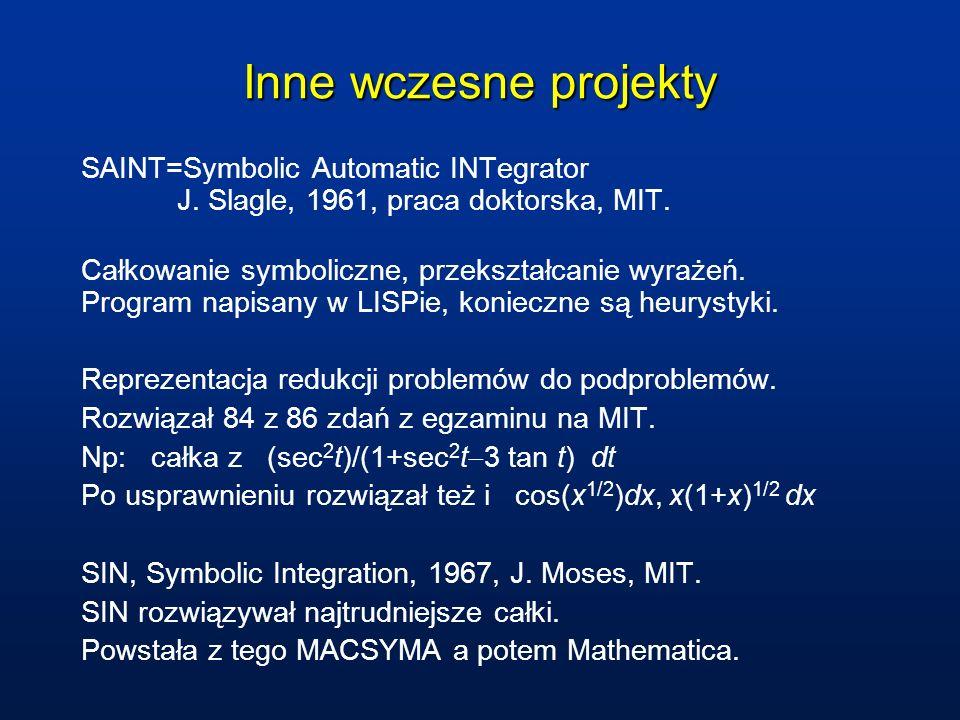 Inne wczesne projekty SAINT=Symbolic Automatic INTegrator J. Slagle, 1961, praca doktorska, MIT. Całkowanie symboliczne, przekształcanie wyrażeń. Prog