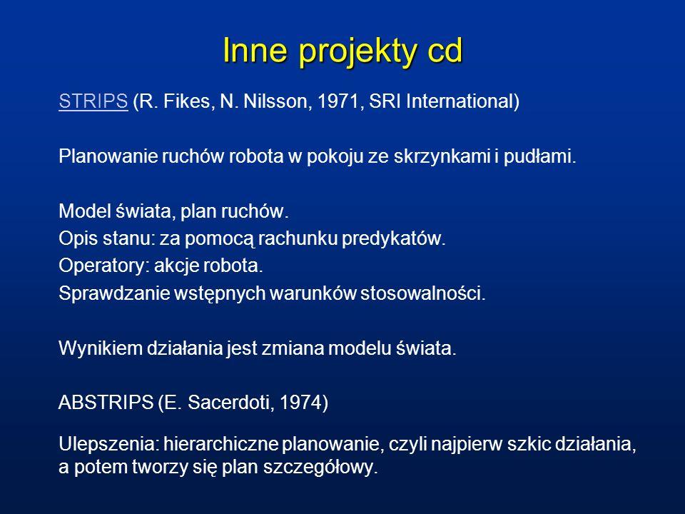 Inne projekty cd STRIPSSTRIPS (R. Fikes, N. Nilsson, 1971, SRI International) Planowanie ruchów robota w pokoju ze skrzynkami i pudłami. Model świata,