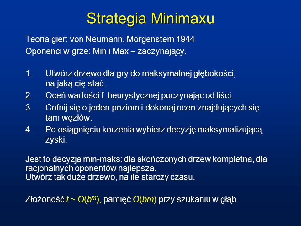 Strategia Minimaxu Teoria gier: von Neumann, Morgenstern 1944 Oponenci w grze: Min i Max – zaczynający. 1.Utwórz drzewo dla gry do maksymalnej głęboko