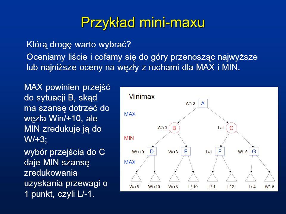 Przykład mini-maxu Którą drogę warto wybrać? Oceniamy liście i cofamy się do góry przenosząc najwyższe lub najniższe oceny na węzły z ruchami dla MAX