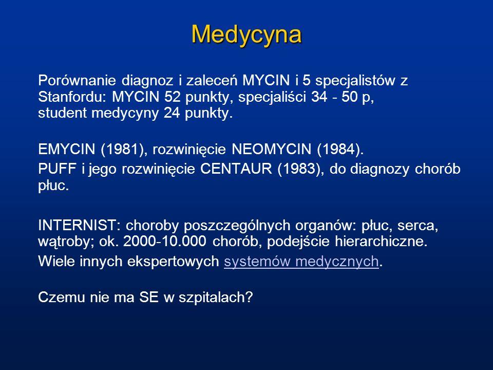 Medycyna Porównanie diagnoz i zaleceń MYCIN i 5 specjalistów z Stanfordu: MYCIN 52 punkty, specjaliści 34 - 50 p, student medycyny 24 punkty. EMYCIN (