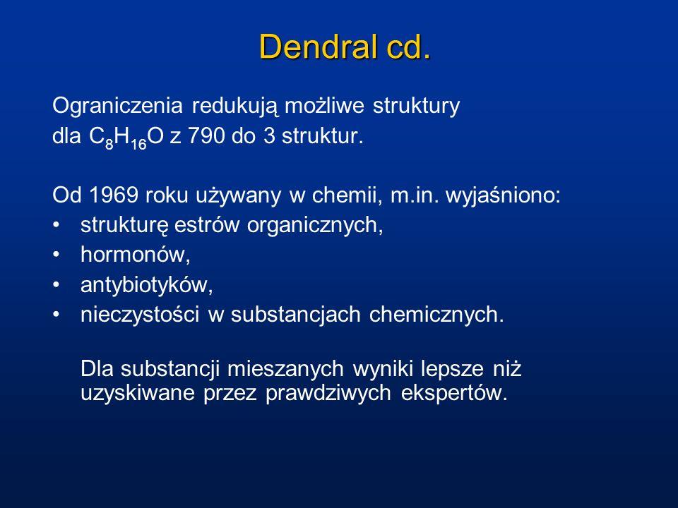 Dendral cd. Ograniczenia redukują możliwe struktury dla C 8 H 16 O z 790 do 3 struktur. Od 1969 roku używany w chemii, m.in. wyjaśniono: strukturę est
