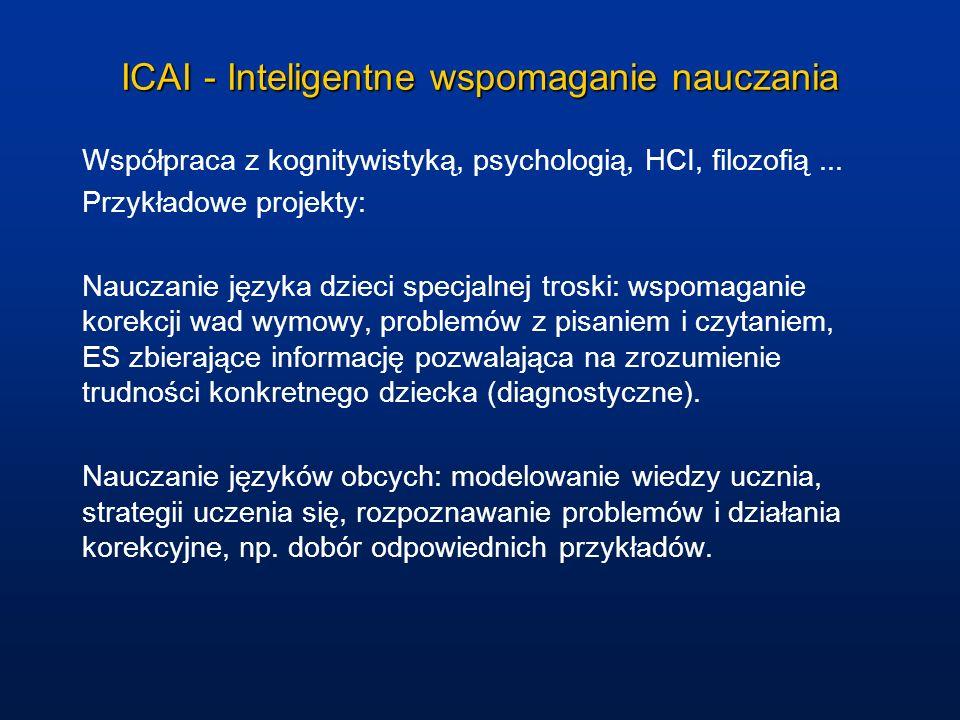 ICAI - Inteligentne wspomaganie nauczania Współpraca z kognitywistyką, psychologią, HCI, filozofią... Przykładowe projekty: Nauczanie języka dzieci sp