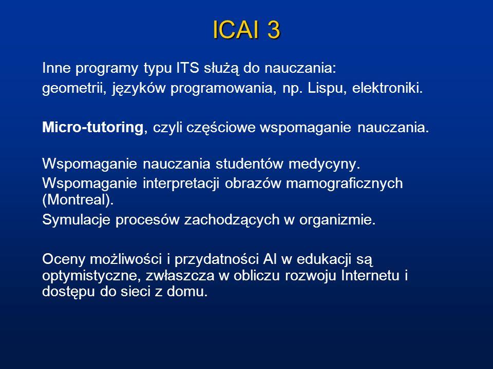ICAI 3 Inne programy typu ITS służą do nauczania: geometrii, języków programowania, np. Lispu, elektroniki. Micro-tutoring, czyli częściowe wspomagani