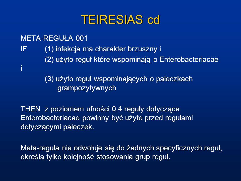 TEIRESIAS cd META-REGUŁA 001 IF(1) infekcja ma charakter brzuszny i (2) użyto reguł które wspominają o Enterobacteriacae i (3) użyto reguł wspominając