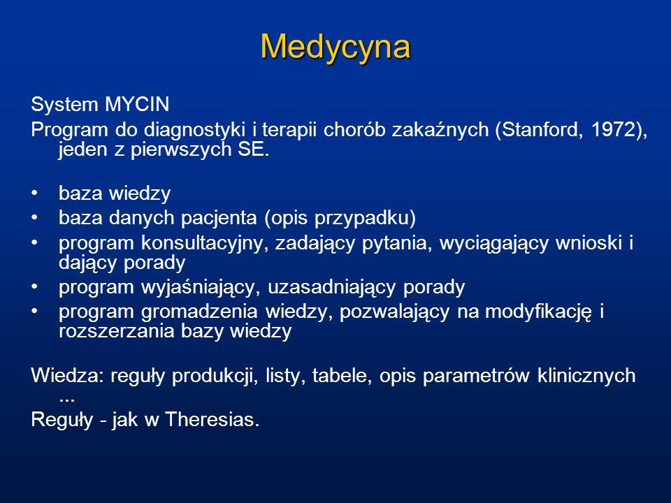 Medycyna System MYCIN Program do diagnostyki i terapii chorób zakaźnych (Stanford, 1972), jeden z pierwszych SE. baza wiedzy baza danych pacjenta (opi