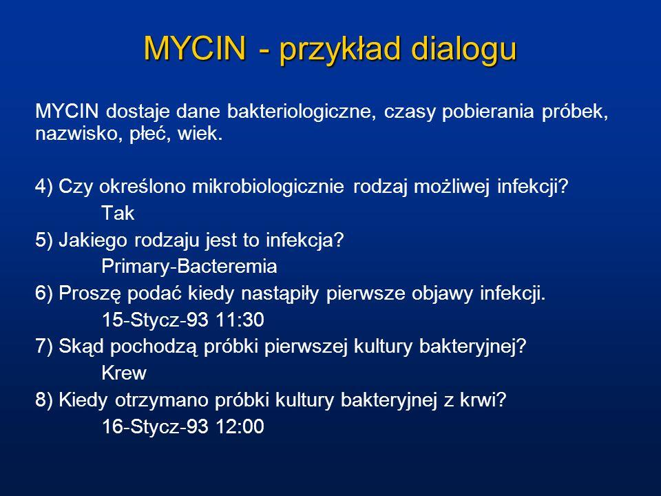 MYCIN - przykład dialogu MYCIN dostaje dane bakteriologiczne, czasy pobierania próbek, nazwisko, płeć, wiek. 4) Czy określono mikrobiologicznie rodzaj