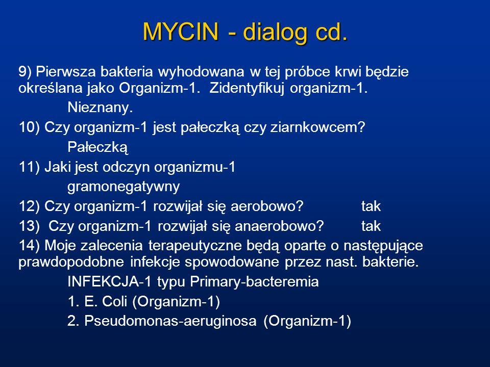 MYCIN - dialog cd. 9) Pierwsza bakteria wyhodowana w tej próbce krwi będzie określana jako Organizm-1. Zidentyfikuj organizm-1. Nieznany. 10) Czy orga