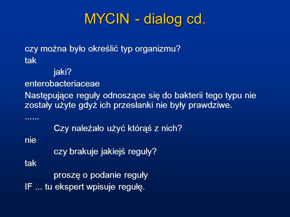 MYCIN - dialog cd. czy można było określić typ organizmu? tak jaki? enterobacteriaceae Następujące reguły odnoszące się do bakterii tego typu nie zost