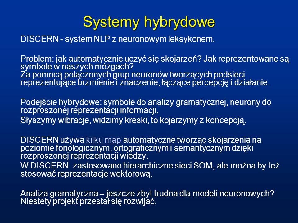 Systemy hybrydowe DISCERN - system NLP z neuronowym leksykonem.