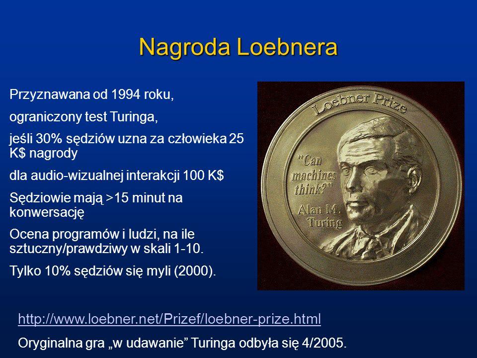 Nagroda Loebnera Przyznawana od 1994 roku, ograniczony test Turinga, jeśli 30% sędziów uzna za człowieka 25 K$ nagrody dla audio-wizualnej interakcji 100 K$ Sędziowie mają >15 minut na konwersację Ocena programów i ludzi, na ile sztuczny/prawdziwy w skali 1-10.