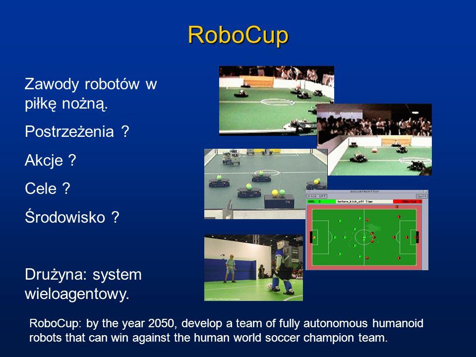 RoboCup Zawody robotów w piłkę nożną. Postrzeżenia ? Akcje ? Cele ? Środowisko ? Drużyna: system wieloagentowy. RoboCup: by the year 2050, develop a t