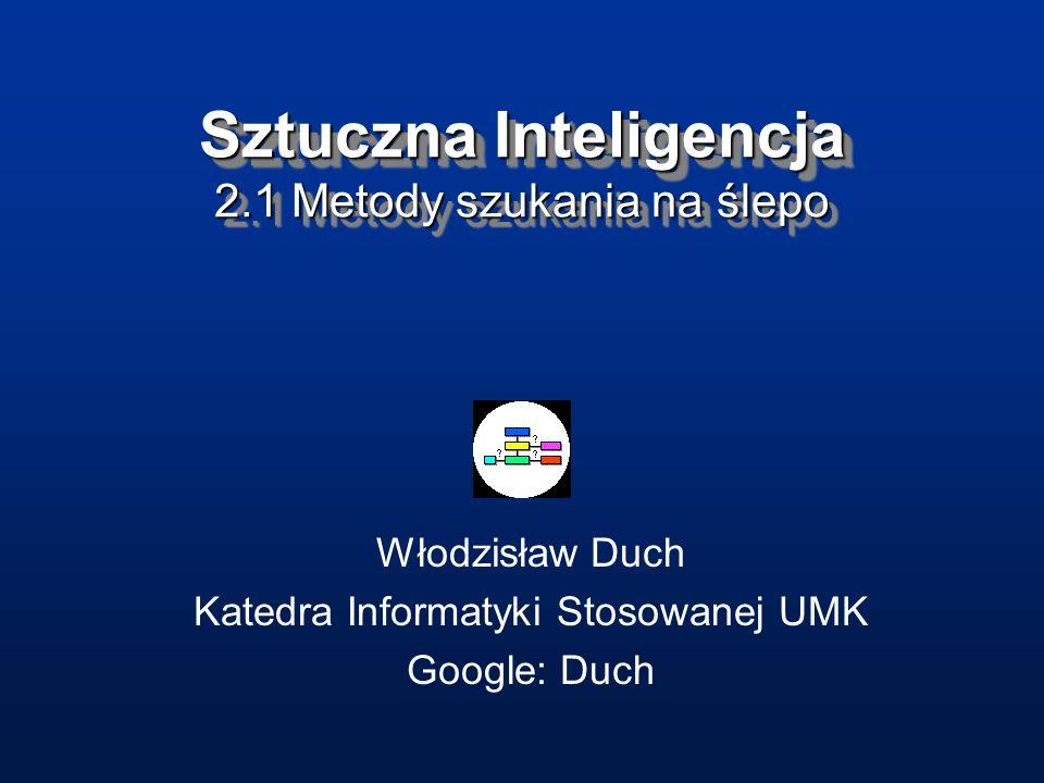 Sztuczna Inteligencja 2.1 Metody szukania na ślepo Włodzisław Duch Katedra Informatyki Stosowanej UMK Google: Duch
