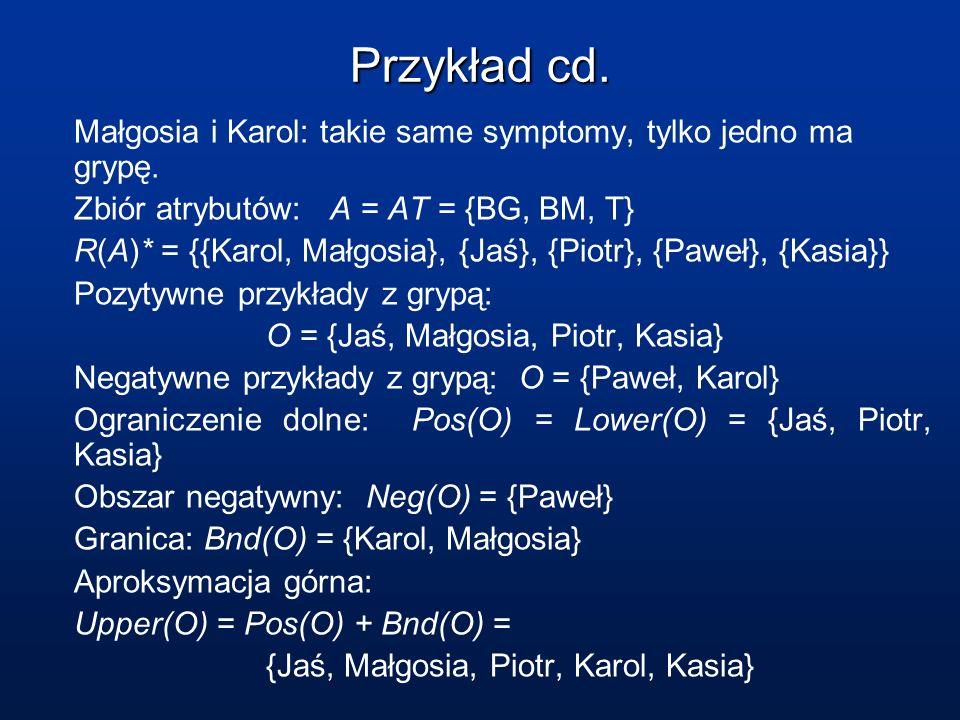 Przykład cd. Małgosia i Karol: takie same symptomy, tylko jedno ma grypę. Zbiór atrybutów: A = AT = {BG, BM, T} R(A)* = {{Karol, Małgosia}, {Jaś}, {Pi