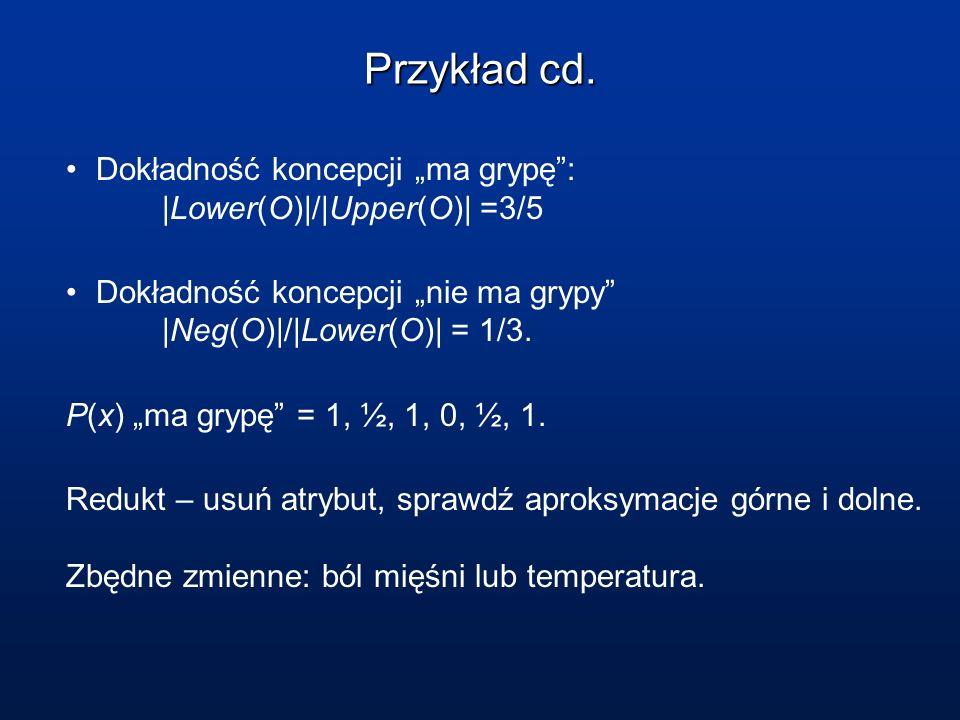 Przykład cd. Dokładność koncepcji ma grypę:  Lower(O) / Upper(O)  =3/5 Dokładność koncepcji nie ma grypy  Neg(O) / Lower(O)  = 1/3. P(x) ma grypę = 1,