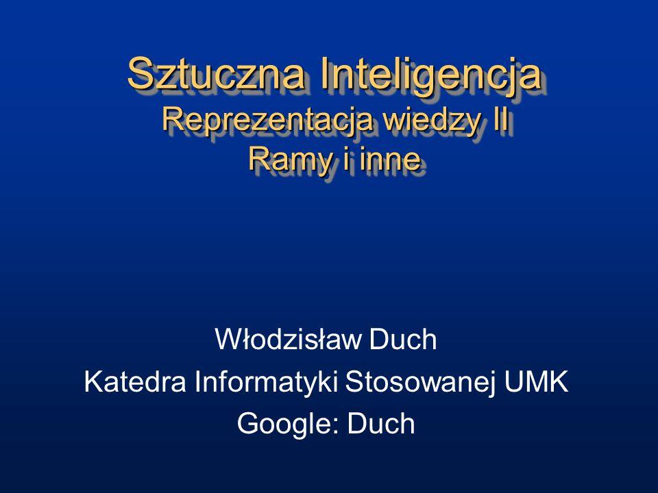 Sztuczna Inteligencja Reprezentacja wiedzy II Ramy i inne Włodzisław Duch Katedra Informatyki Stosowanej UMK Google: Duch