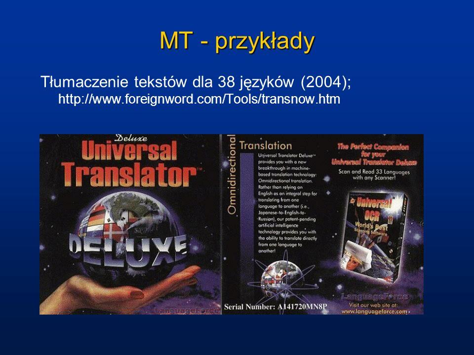 MT - przykłady Tłumaczenie tekstów dla 38 języków (2004); http://www.foreignword.com/Tools/transnow.htm