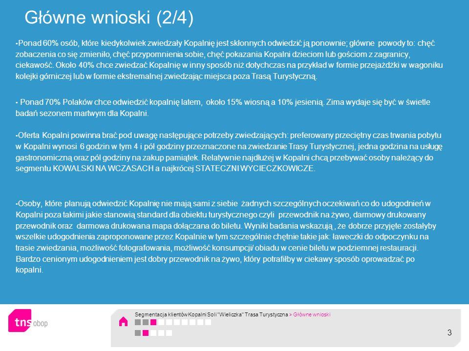 Główne wnioski (3/4) Wyniki badania wskazują, że potencjalnych Klientów Kopalni Soli Wieliczka można podzielić na trzy grupy.