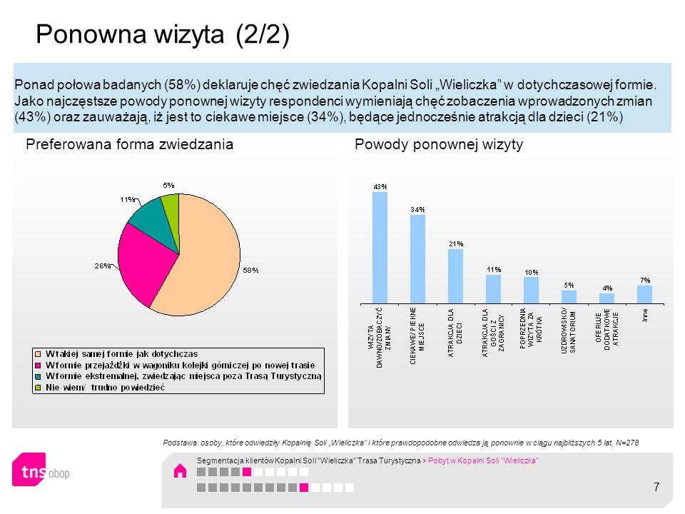 Pobyt w Kopalni: podsumowanie wyników (1/3) Około 60% Polaków dotychczas odwiedziło Kopalnię; średnia liczba dotychczasowych wizyt wynosi nieco ponad jedną wizytę (1,5), co świadczy o tym, że większość (70%) badanych zadawala się jedną wizytą w życiu w tym atrakcyjnym obiekcie turystycznym; Większość wizyt w Kopalni odbywa się latem (29%), głównie w czerwcu (12%); co dziesiąta osoba zwiedza Kopalnie wiosną (12%) a 5% jesienią; zimą, czyli od grudnia do lutego Polacy praktycznie nie zwiedzają Kopalni (2%); Większość badanych (45%) odwiedziła ostatni raz Kopalnię w latach 1950 – 1999, czyli stosunkowo dawno; przeciętnie ostatnia wizyta miała miejsce w 1996 roku; co czwarta osoba odwiedziła Kopalnie w ciągu ostatnich 4 lat (2006 -2010); Osoby które stosunkowo dawno zwiedzały Kopalnię to częściej kobiety, osoby najstarsze w wieku 60 lat i więcej, emeryci / renciści, mieszkańcy wsi, osoby należące do segmentu STATECZNI WYCIECZKOWICZE; Osoby które stosunkowo niedawno (2006-2010) zwiedzały Kopalnie to częściej mężczyźni, osoby najmłodsze w wieku 18-24 lata, uczniowie / studenci, z gospodarstw domowych o najwyższym poziomie dochodu, z segmentu MŁODZI AKTYWNI; Większość badanych (75%) odwiedziło Kopalnie wyłącznie w celu zwiedzania Trasy Turystycznej nie korzystając z żadnych innych usług oferowanych przez Kopalnię; około 10% skorzystało ze zwiedzania tematycznego lub gry integracyjnej (Podziemna eskapada czyli wycieczka z przygodami, Szczęść Boże, Poznaj Kopalnię Nocą) a 7% odwiedziło podziemną restaurację; 8 Segmentacja klientów Kopalni Soli Wieliczka Trasa Turystyczna > Pobyt w Kopalni Soli Wieliczka