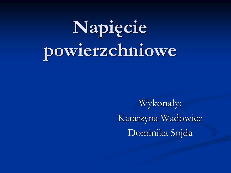 Napięcie powierzchniowe Wykonały: Katarzyna Wadowiec Dominika Sojda