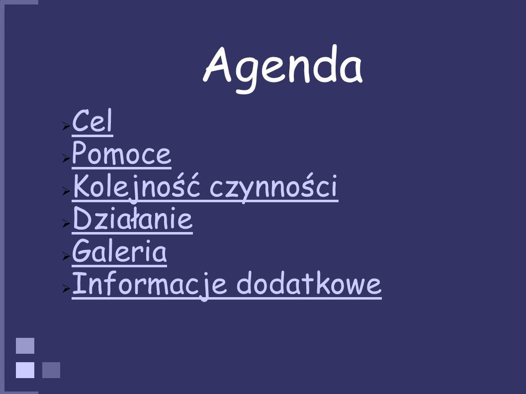 Agenda Cel Pomoce Kolejność czynności Działanie Galeria Informacje dodatkowe