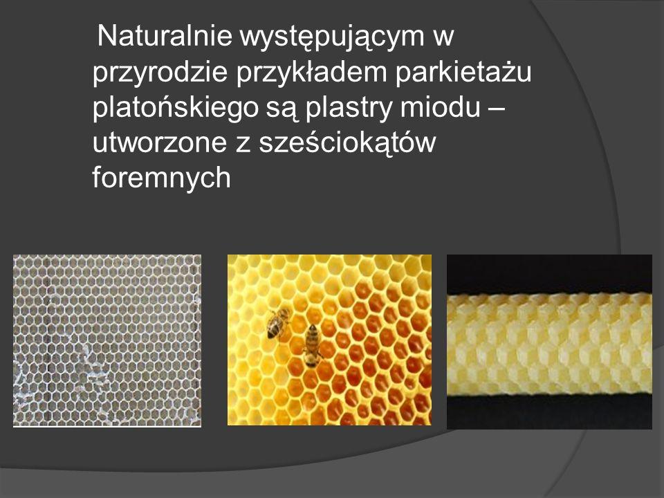 Naturalnie występującym w przyrodzie przykładem parkietażu platońskiego są plastry miodu – utworzone z sześciokątów foremnych