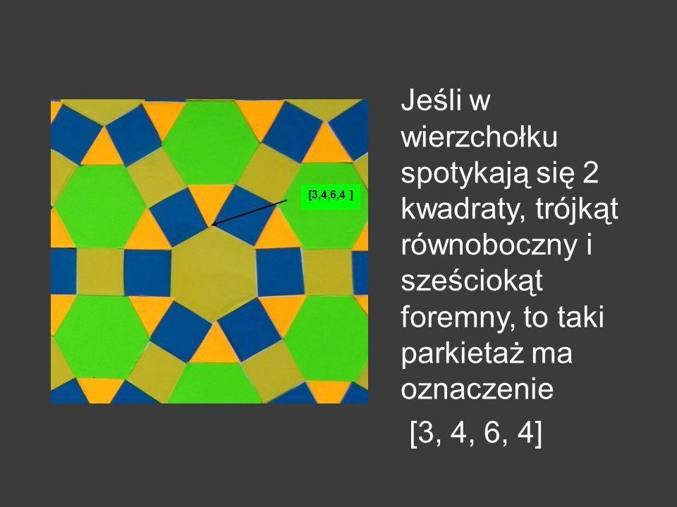 Jeśli w wierzchołku spotykają się 2 kwadraty, trójkąt równoboczny i sześciokąt foremny, to taki parkietaż ma oznaczenie [3, 4, 6, 4]