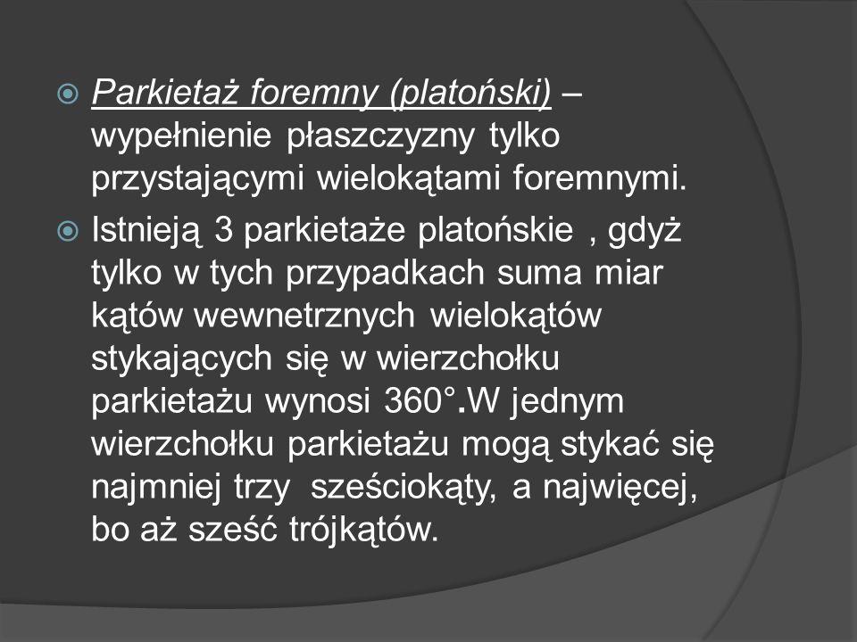 Parkietaż foremny (platoński) – wypełnienie płaszczyzny tylko przystającymi wielokątami foremnymi. Istnieją 3 parkietaże platońskie, gdyż tylko w tych