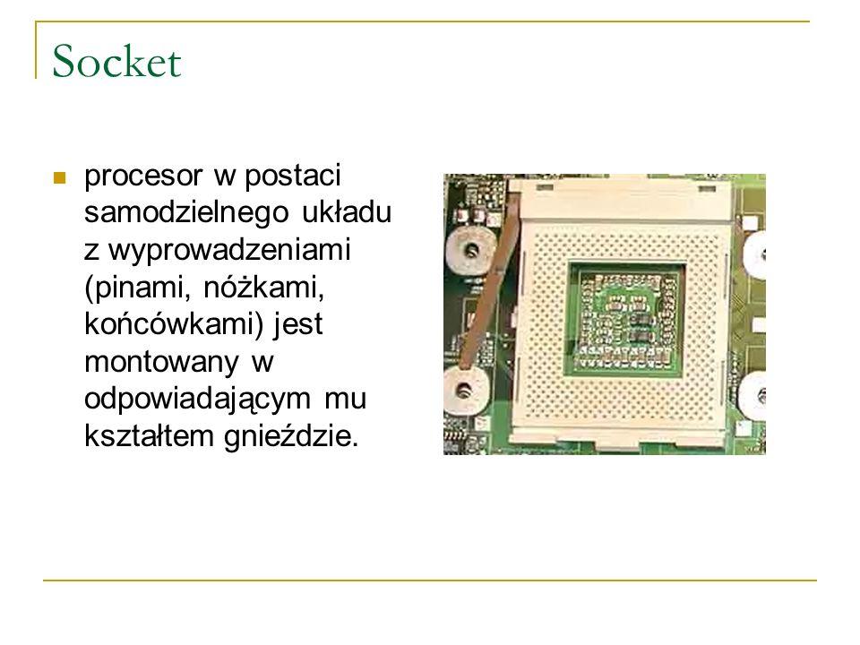 Socket procesor w postaci samodzielnego układu z wyprowadzeniami (pinami, nóżkami, końcówkami) jest montowany w odpowiadającym mu kształtem gnieździe.