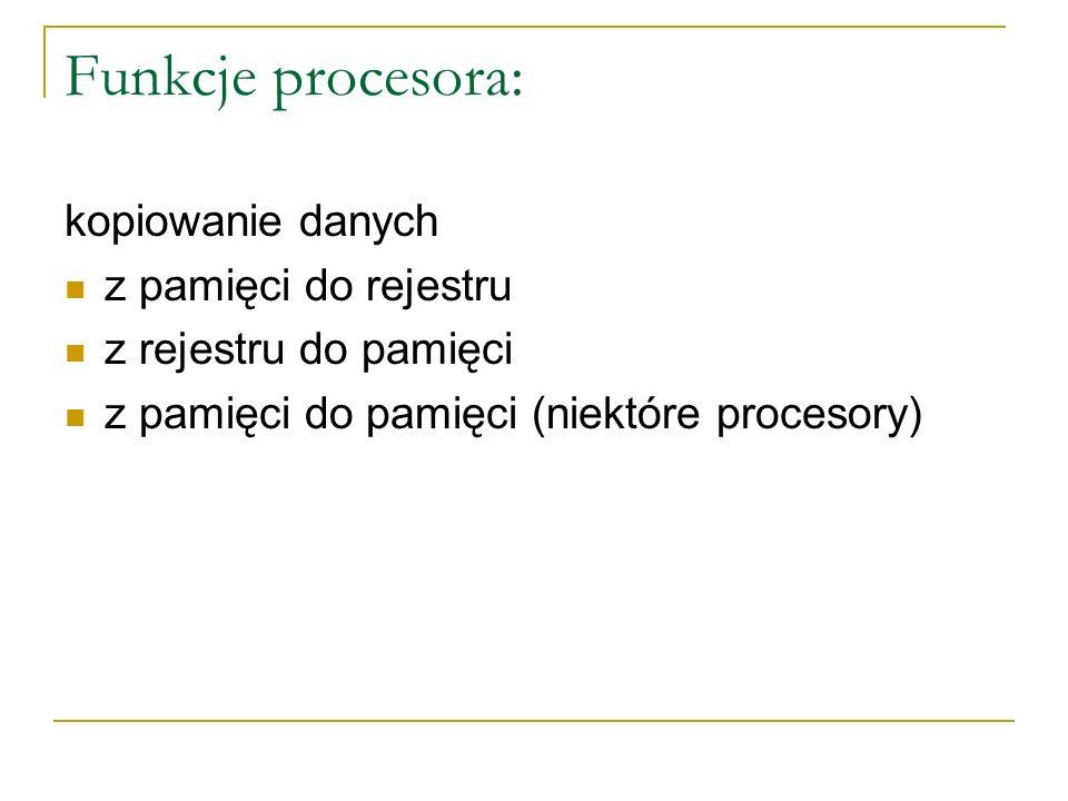 Funkcje procesora: kopiowanie danych z pamięci do rejestru z rejestru do pamięci z pamięci do pamięci (niektóre procesory)