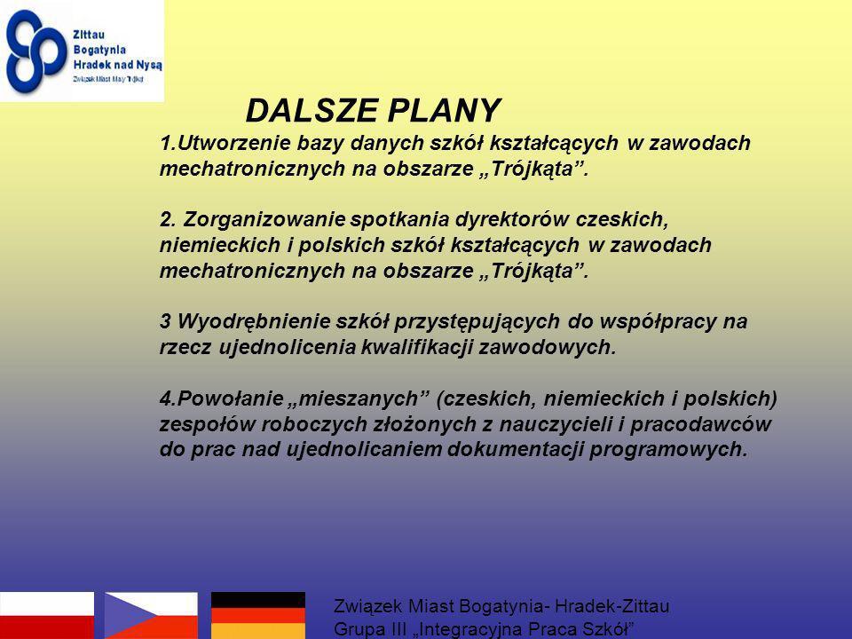 DALSZE PLANY 1.Utworzenie bazy danych szkół kształcących w zawodach mechatronicznych na obszarze Trójkąta. 2. Zorganizowanie spotkania dyrektorów czes