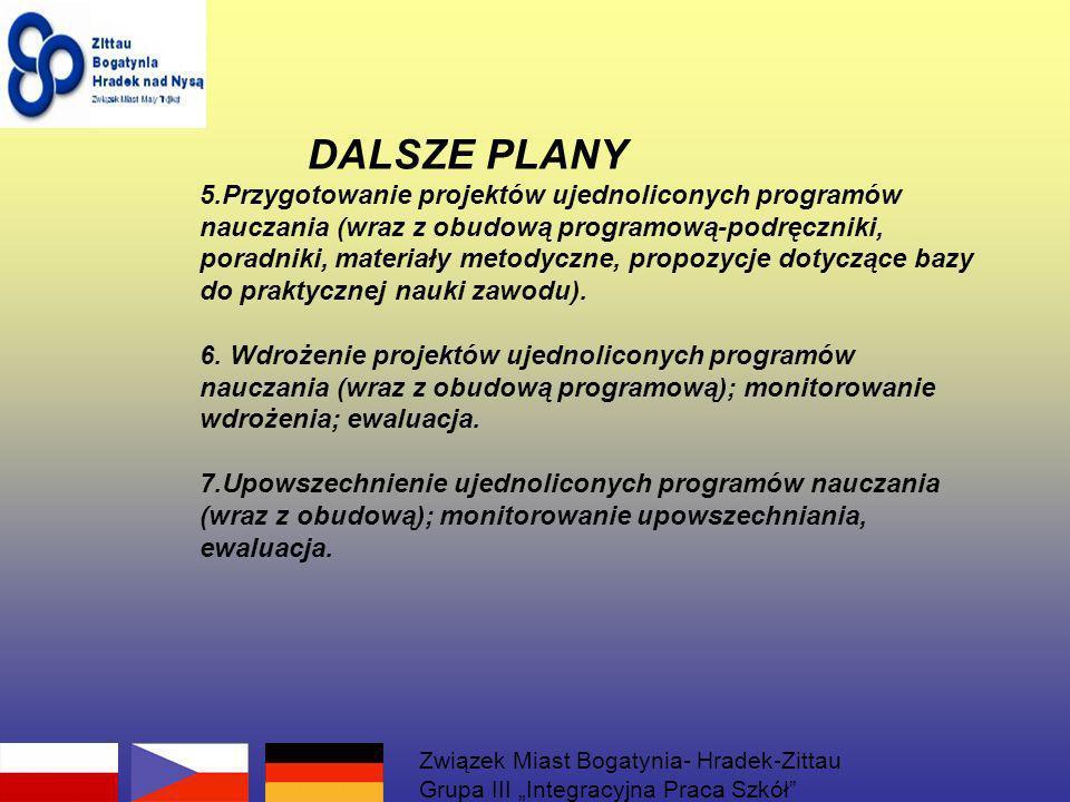 DALSZE PLANY 5.Przygotowanie projektów ujednoliconych programów nauczania (wraz z obudową programową-podręczniki, poradniki, materiały metodyczne, propozycje dotyczące bazy do praktycznej nauki zawodu).