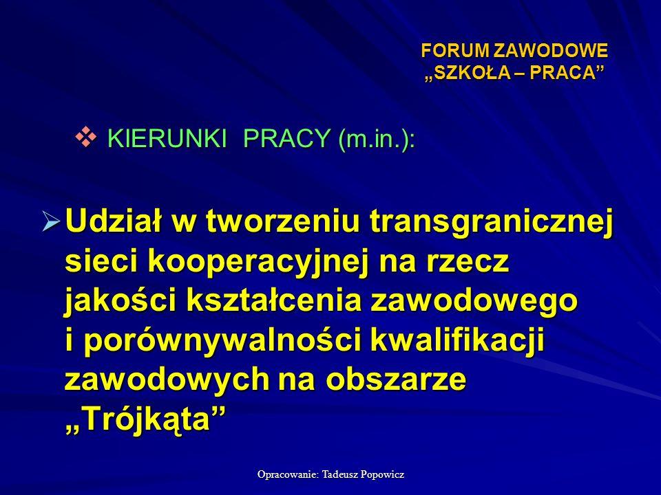 Opracowanie: Tadeusz Popowicz FORUM ZAWODOWE SZKOŁA – PRACA FORUM ZAWODOWE SZKOŁA – PRACA KIERUNKI PRACY (m.in.): KIERUNKI PRACY (m.in.): Udział w tworzeniu transgranicznej sieci kooperacyjnej na rzecz jakości kształcenia zawodowego i porównywalności kwalifikacji zawodowych na obszarze Trójkąta Udział w tworzeniu transgranicznej sieci kooperacyjnej na rzecz jakości kształcenia zawodowego i porównywalności kwalifikacji zawodowych na obszarze Trójkąta