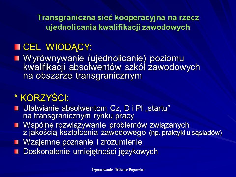 Opracowanie: Tadeusz Popowicz Transgraniczna sieć kooperacyjna na rzecz ujednolicania kwalifikacji zawodowych CEL WIODĄCY: Wyrównywanie (ujednolicanie) poziomu kwalifikacji absolwentów szkół zawodowych na obszarze transgranicznym * KORZYŚCI: Ułatwianie absolwentom Cz, D i Pl startu na transgranicznym rynku pracy Wspólne rozwiązywanie problemów związanych z jakością kształcenia zawodowego (np.