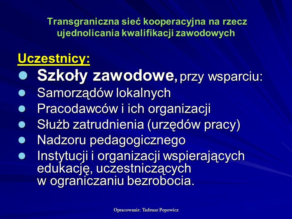 Opracowanie: Tadeusz Popowicz Transgraniczna sieć kooperacyjna na rzecz ujednolicania kwalifikacji zawodowych Transgraniczna sieć kooperacyjna na rzecz ujednolicania kwalifikacji zawodowych Uczestnicy: Szkoły zawodowe, przy wsparciu: Szkoły zawodowe, przy wsparciu: Samorządów lokalnych Samorządów lokalnych Pracodawców i ich organizacji Pracodawców i ich organizacji Służb zatrudnienia (urzędów pracy) Służb zatrudnienia (urzędów pracy) Nadzoru pedagogicznego Nadzoru pedagogicznego Instytucji i organizacji wspierających edukację, uczestniczących w ograniczaniu bezrobocia.