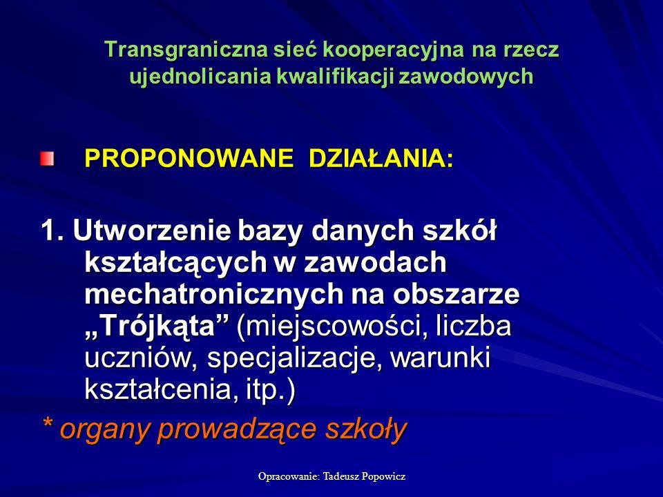 Opracowanie: Tadeusz Popowicz Transgraniczna sieć kooperacyjna na rzecz ujednolicania kwalifikacji zawodowych PROPONOWANE DZIAŁANIA: 1.