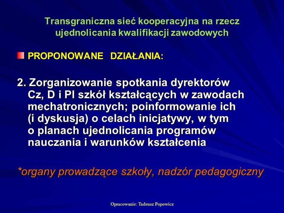 Opracowanie: Tadeusz Popowicz Transgraniczna sieć kooperacyjna na rzecz ujednolicania kwalifikacji zawodowych PROPONOWANE DZIAŁANIA: 2.