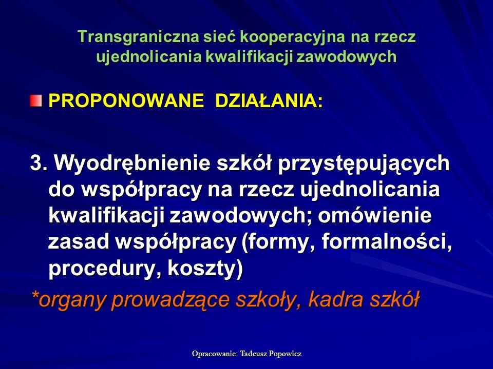 Opracowanie: Tadeusz Popowicz Transgraniczna sieć kooperacyjna na rzecz ujednolicania kwalifikacji zawodowych PROPONOWANE DZIAŁANIA: 3.