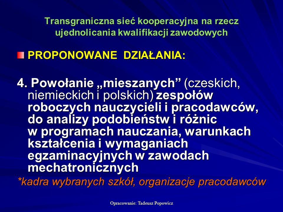 Opracowanie: Tadeusz Popowicz Transgraniczna sieć kooperacyjna na rzecz ujednolicania kwalifikacji zawodowych PROPONOWANE DZIAŁANIA: 4.