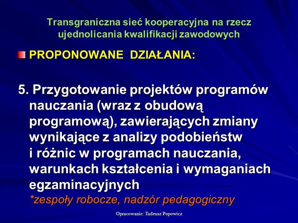 Opracowanie: Tadeusz Popowicz Transgraniczna sieć kooperacyjna na rzecz ujednolicania kwalifikacji zawodowych PROPONOWANE DZIAŁANIA: 5.