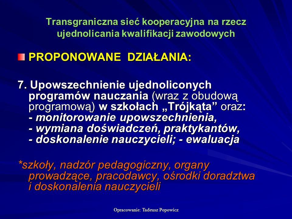 Opracowanie: Tadeusz Popowicz Transgraniczna sieć kooperacyjna na rzecz ujednolicania kwalifikacji zawodowych PROPONOWANE DZIAŁANIA: 7.