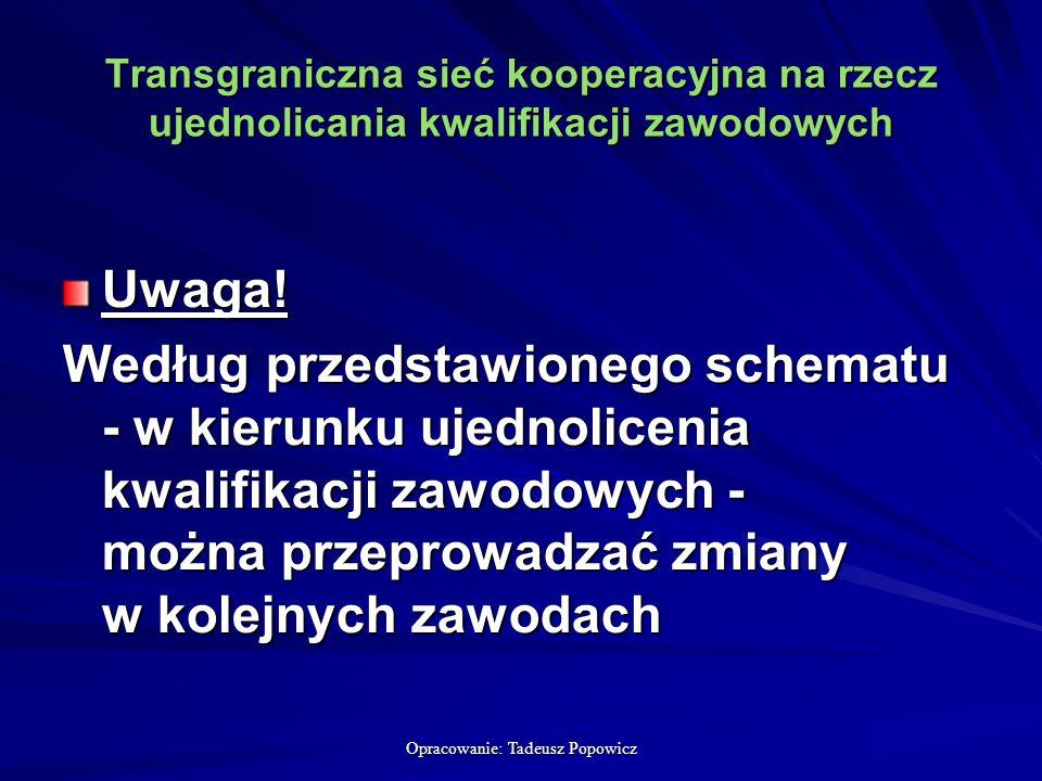 Opracowanie: Tadeusz Popowicz Transgraniczna sieć kooperacyjna na rzecz ujednolicania kwalifikacji zawodowych Uwaga.