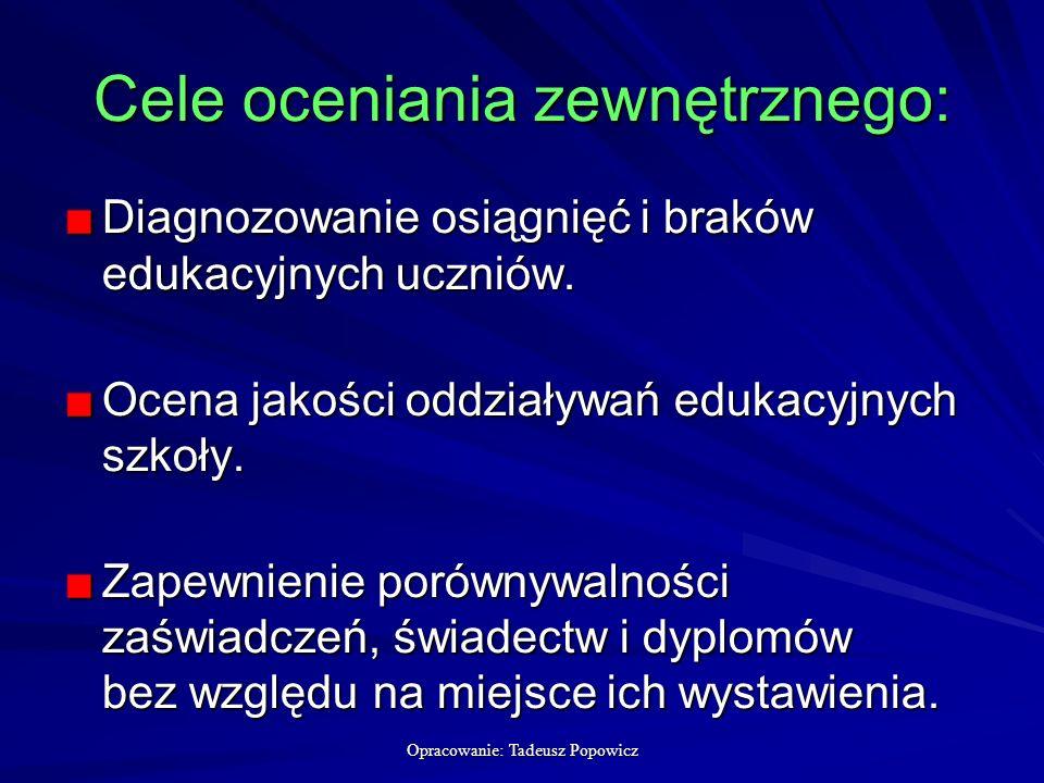 Opracowanie: Tadeusz Popowicz Cele oceniania zewnętrznego: Diagnozowanie osiągnięć i braków edukacyjnych uczniów.