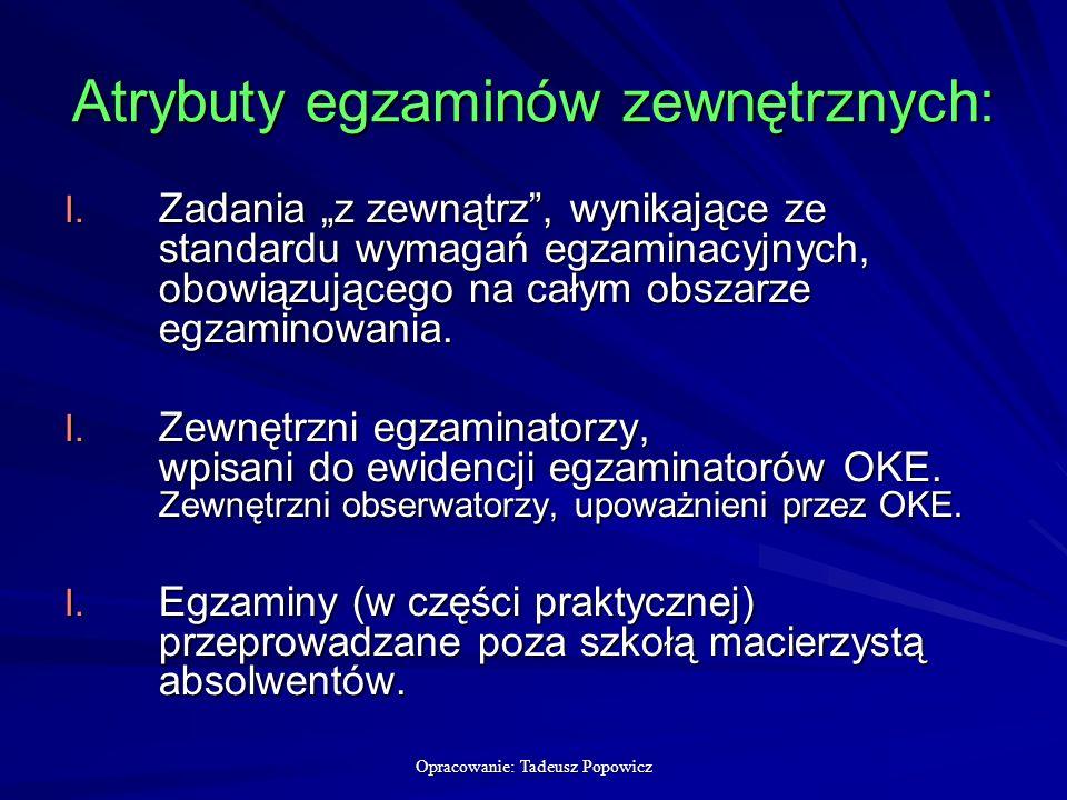 Opracowanie: Tadeusz Popowicz Atrybuty egzaminów zewnętrznych: I.
