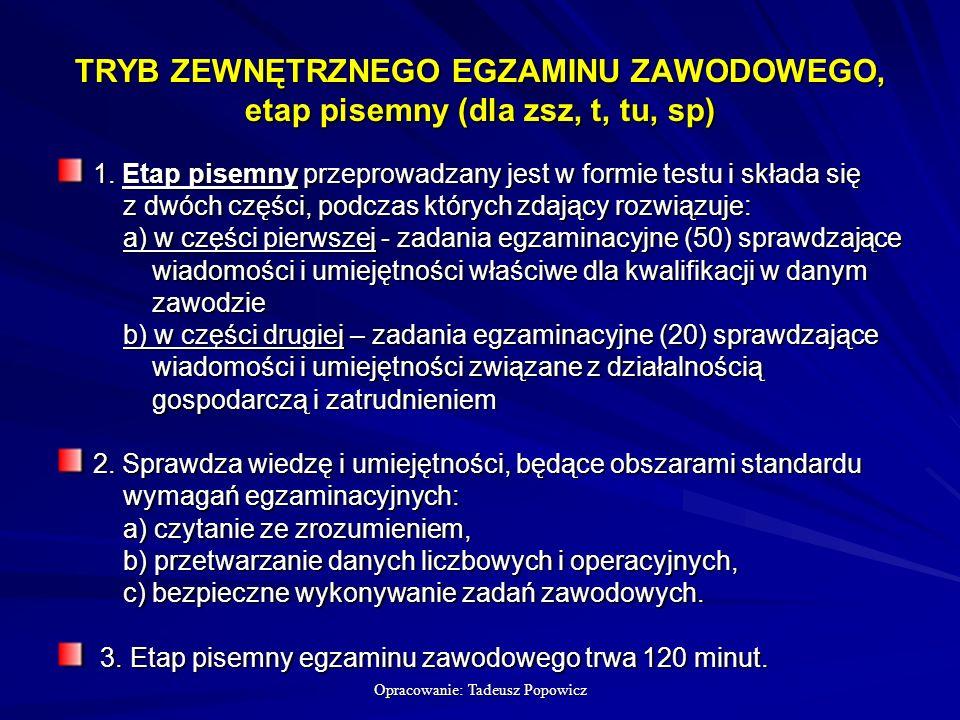 Opracowanie: Tadeusz Popowicz TRYB ZEWNĘTRZNEGO EGZAMINU ZAWODOWEGO, etap pisemny (dla zsz, t, tu, sp) 1.