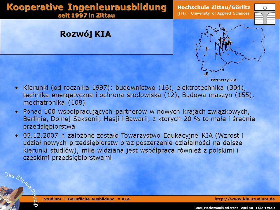 Studium + Berufliche Ausbildung = KIAhttp://www.kia-studium.de Kooperative Ingenieurausbildung seit 1997 in Zittau 2008_Mechatronikkonferenz· April 08 · Folie 4 von 5 Hochschule Zittau/Görlitz (FH) – University of Applied Sciences Rozwój KIA Partnerzy KIA Partnerzy KIA Kierunki (od rocznika 1997): budownictwo (16), elektrotechnika (304), technika energetyczna i ochrona środowiska (12), Budowa maszyn (155), mechatronika (108)Kierunki (od rocznika 1997): budownictwo (16), elektrotechnika (304), technika energetyczna i ochrona środowiska (12), Budowa maszyn (155), mechatronika (108) Ponad 100 współpracujących partnerów w nowych krajach związkowych, Berlinie, Dolnej Saksonii, Hesji i Bawarii, z których 20 % to małe i średnie przedsiębiorstwaPonad 100 współpracujących partnerów w nowych krajach związkowych, Berlinie, Dolnej Saksonii, Hesji i Bawarii, z których 20 % to małe i średnie przedsiębiorstwa 05.12.2007 r.