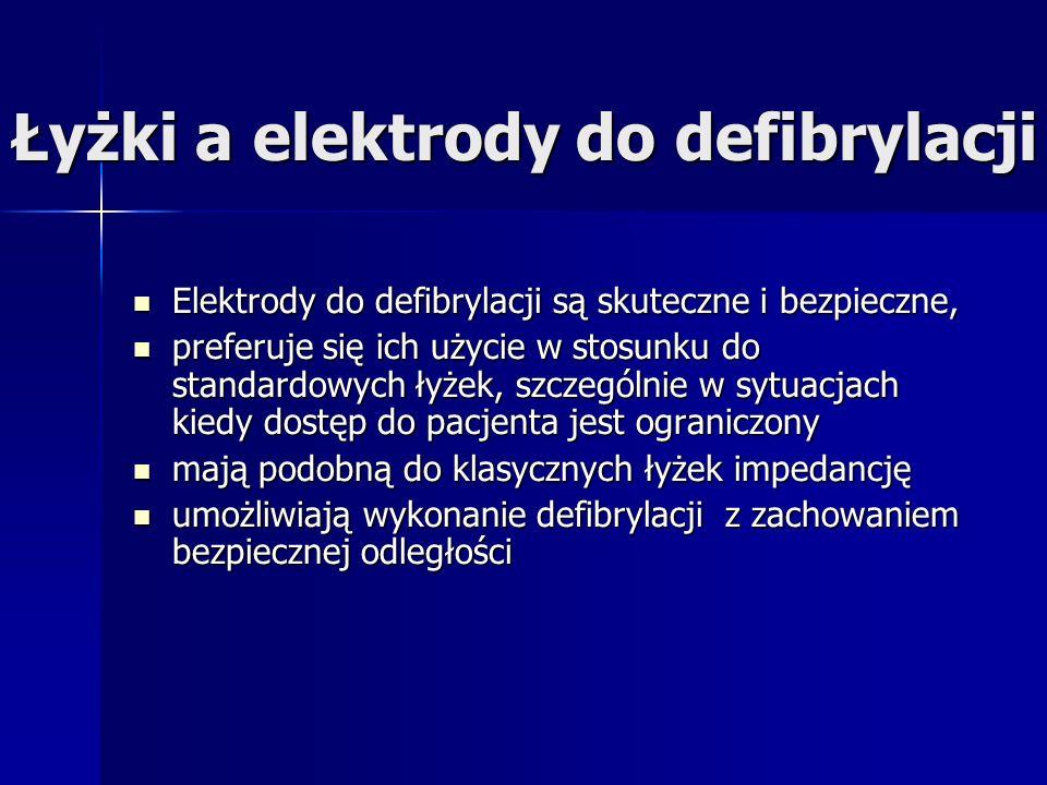 Łyżki a elektrody do defibrylacji Elektrody do defibrylacji są skuteczne i bezpieczne, Elektrody do defibrylacji są skuteczne i bezpieczne, preferuje się ich użycie w stosunku do standardowych łyżek, szczególnie w sytuacjach kiedy dostęp do pacjenta jest ograniczony preferuje się ich użycie w stosunku do standardowych łyżek, szczególnie w sytuacjach kiedy dostęp do pacjenta jest ograniczony mają podobną do klasycznych łyżek impedancję mają podobną do klasycznych łyżek impedancję umożliwiają wykonanie defibrylacji z zachowaniem bezpiecznej odległości umożliwiają wykonanie defibrylacji z zachowaniem bezpiecznej odległości